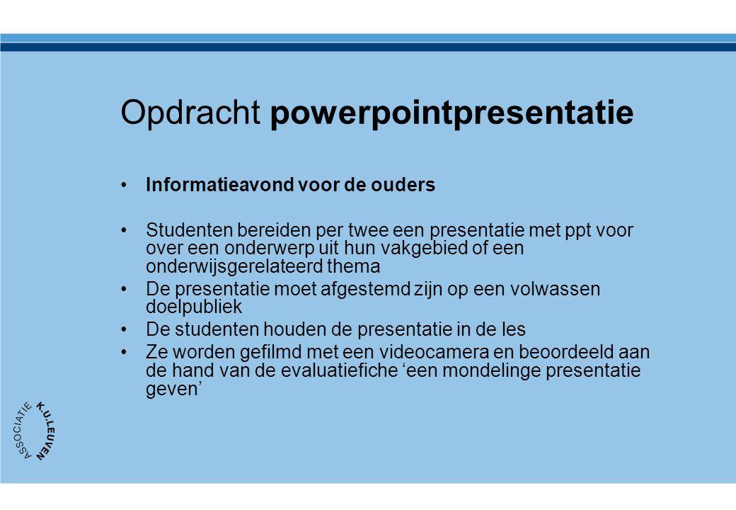 Opdracht powerpointpresentatie