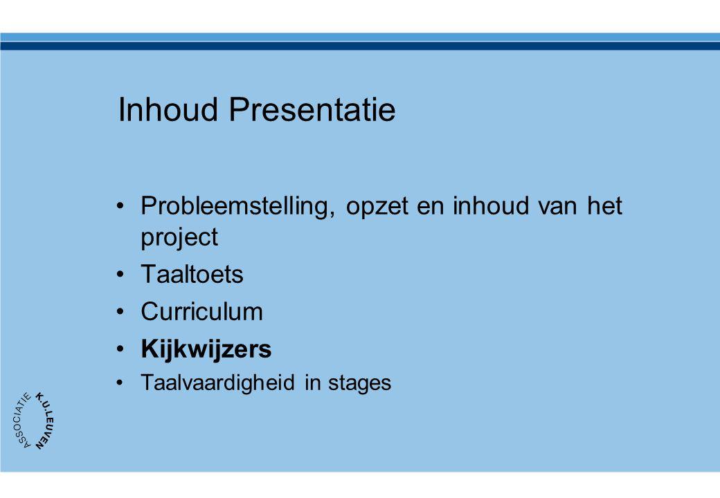 Inhoud Presentatie Probleemstelling, opzet en inhoud van het project