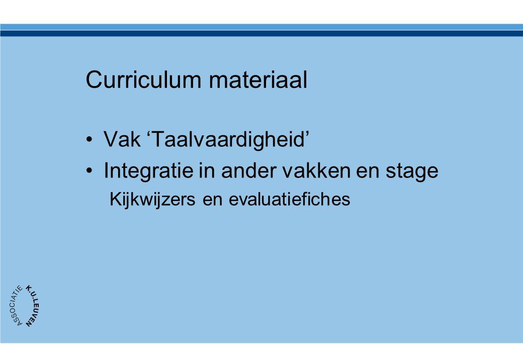 Curriculum materiaal Vak 'Taalvaardigheid'