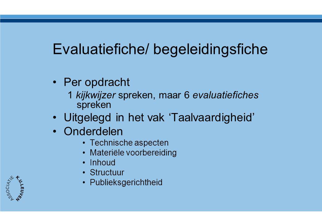 Evaluatiefiche/ begeleidingsfiche