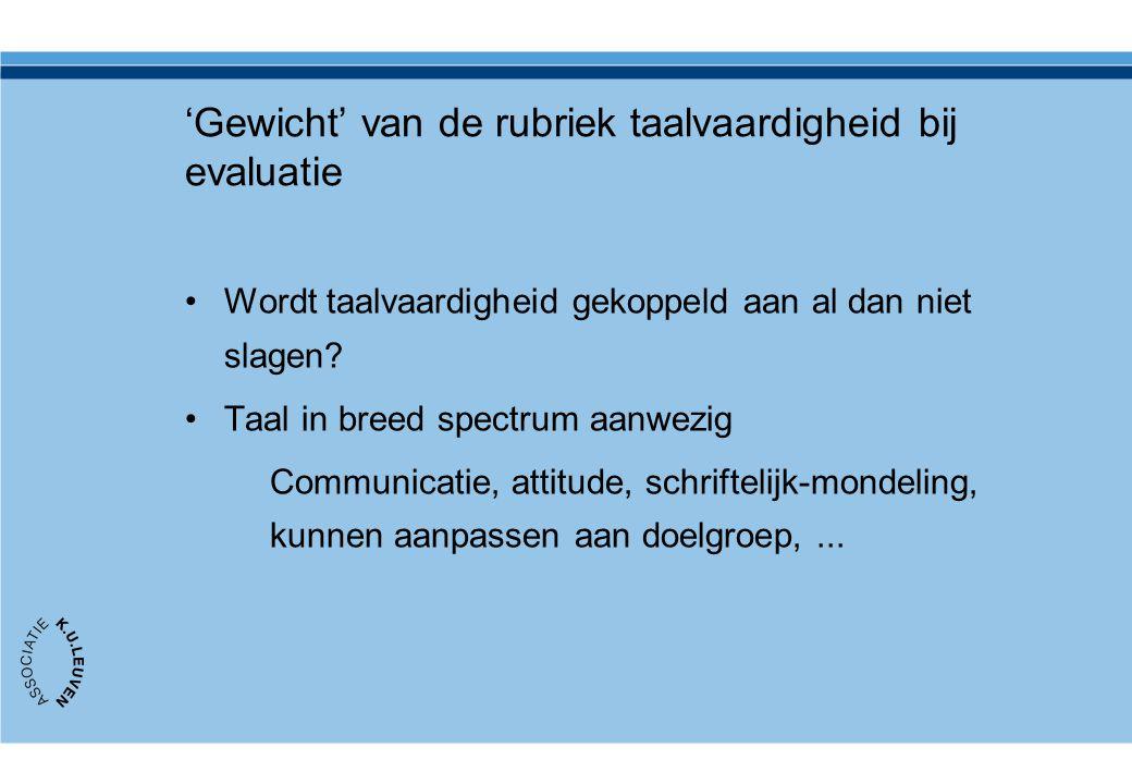 'Gewicht' van de rubriek taalvaardigheid bij evaluatie