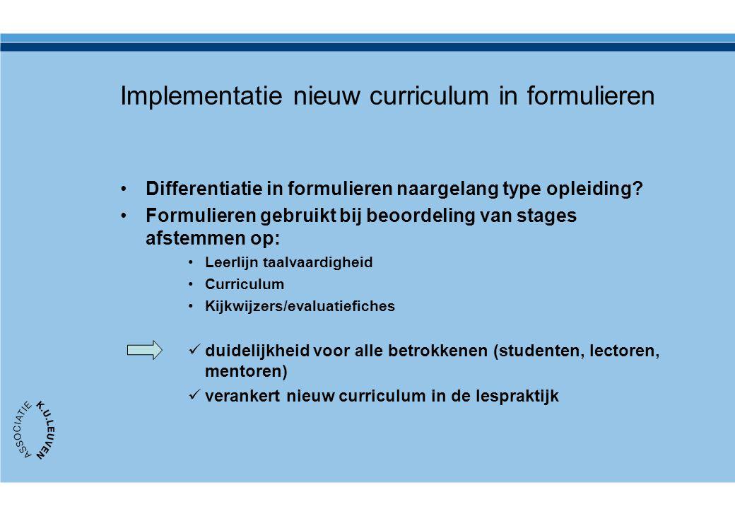 Implementatie nieuw curriculum in formulieren