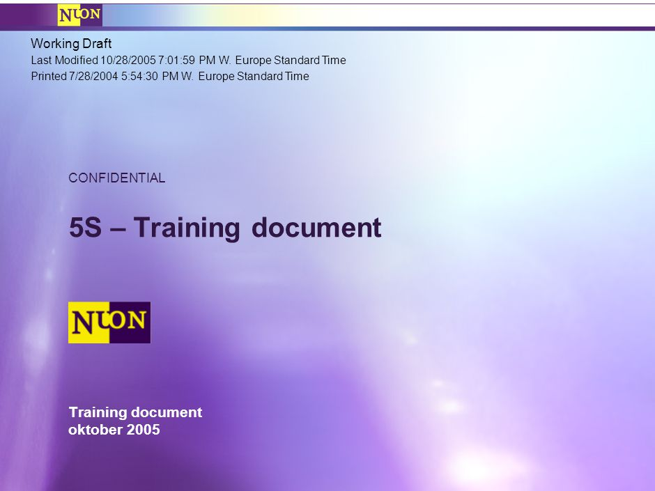 Nuon Lean Training – Lean introductie