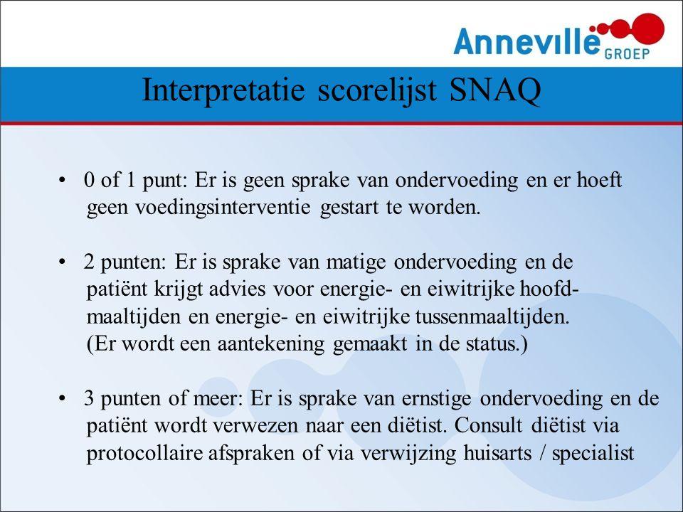Interpretatie scorelijst SNAQ