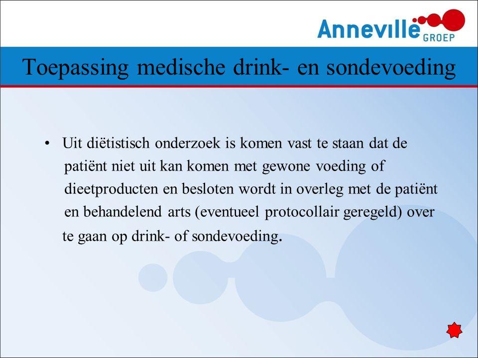 Toepassing medische drink- en sondevoeding