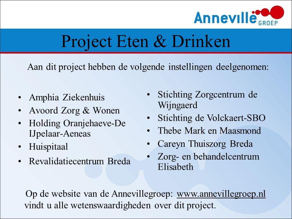 Project Eten & Drinken Aan dit project hebben de volgende instellingen deelgenomen: Amphia Ziekenhuis.