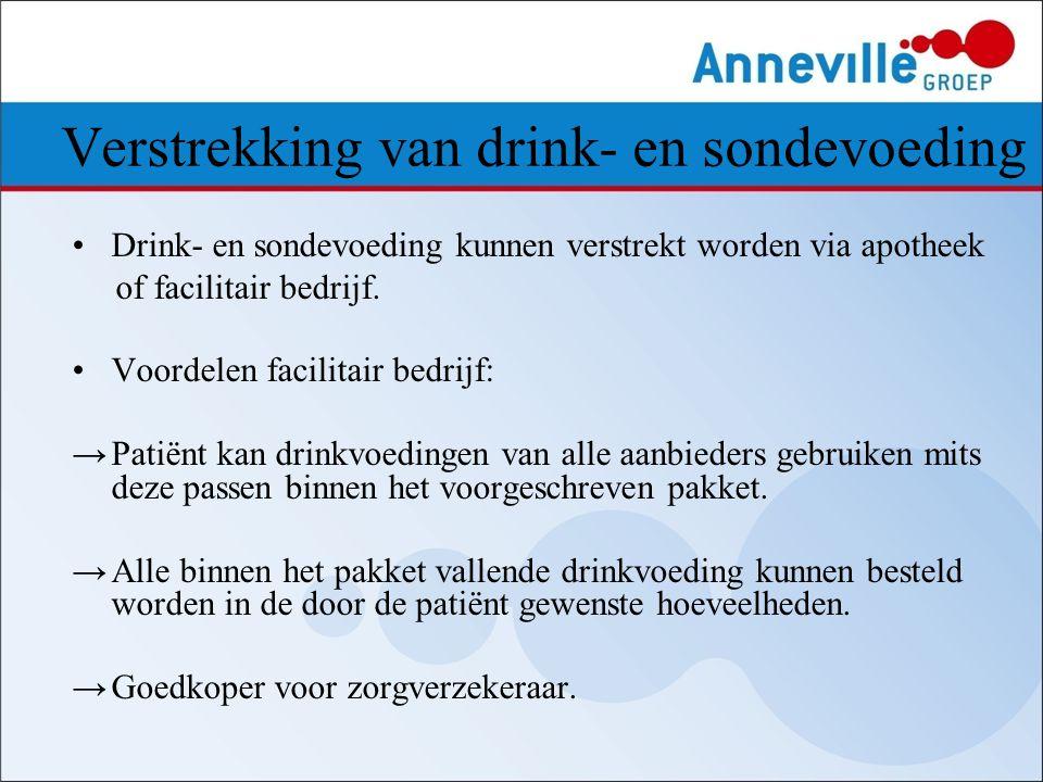 Verstrekking van drink- en sondevoeding