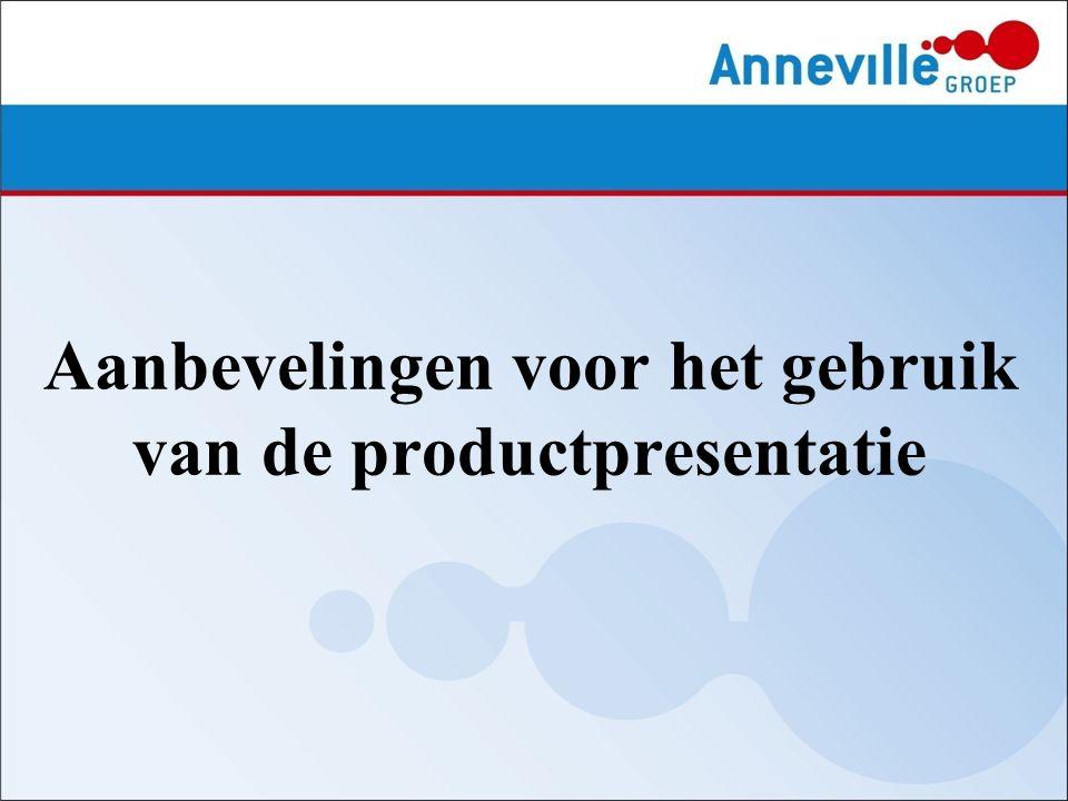 Aanbevelingen voor het gebruik van de productpresentatie