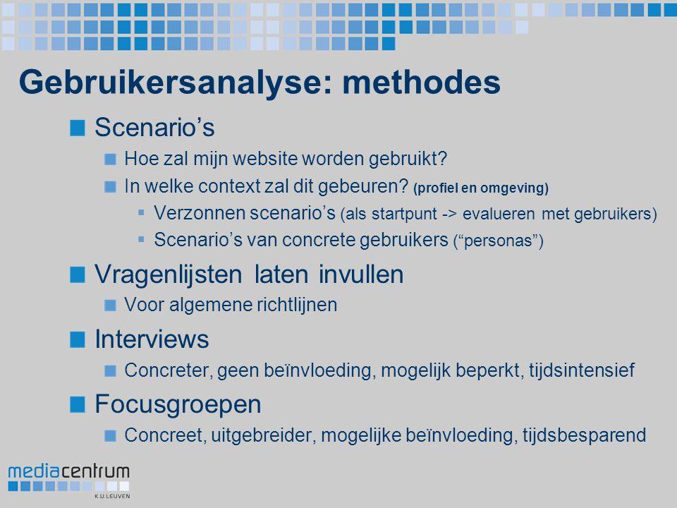 Gebruikersanalyse: methodes