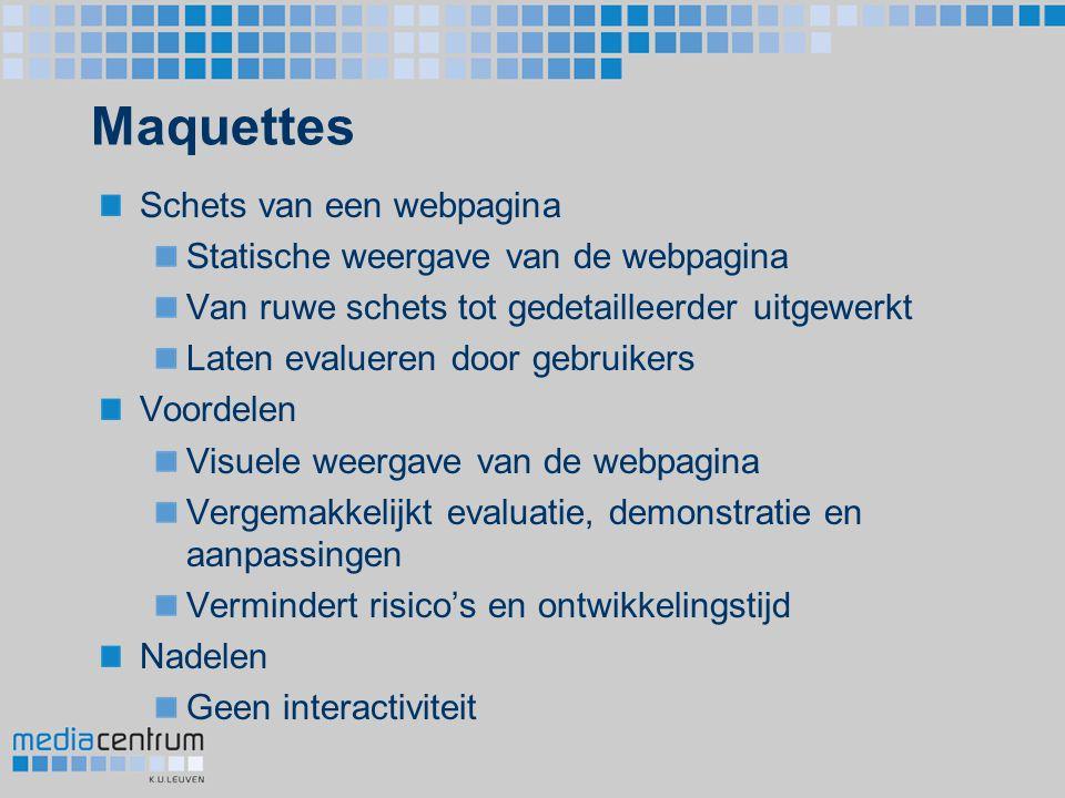 Maquettes Schets van een webpagina Statische weergave van de webpagina
