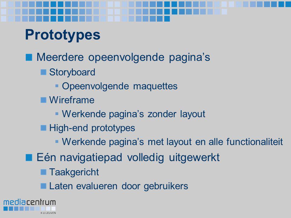 Prototypes Meerdere opeenvolgende pagina's