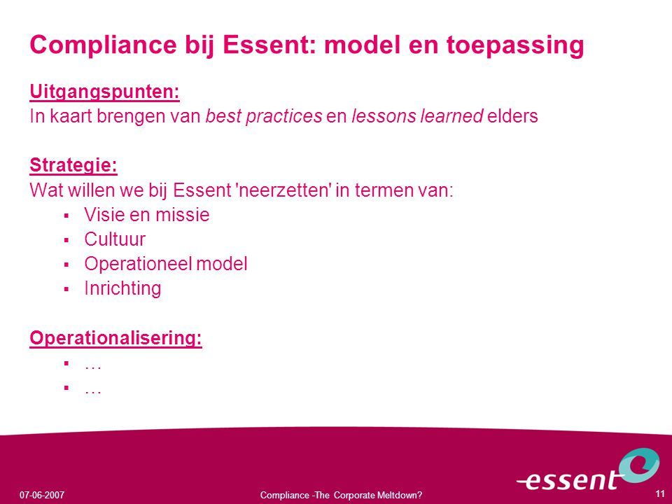 Compliance bij Essent: model en toepassing