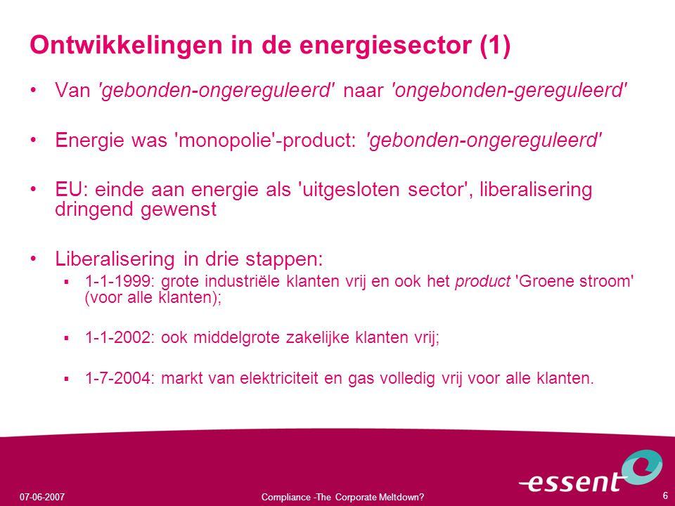 Ontwikkelingen in de energiesector (1)
