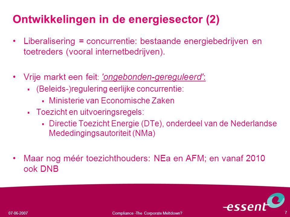 Ontwikkelingen in de energiesector (2)