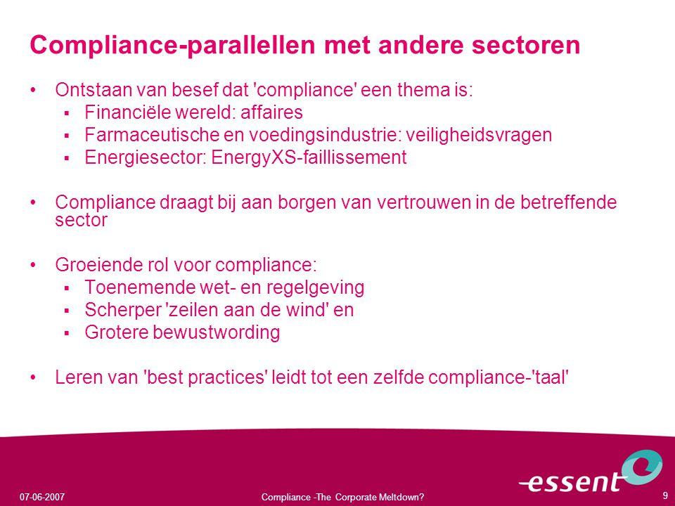 Compliance-parallellen met andere sectoren