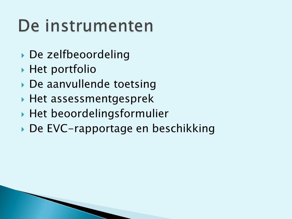 De instrumenten De zelfbeoordeling Het portfolio