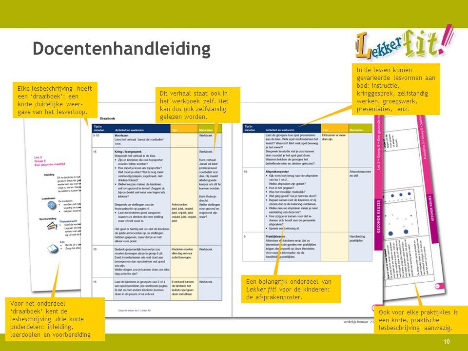 Docentenhandleiding Elke lesbeschrijving heeft een 'draaiboek': een korte duidelijke weer-gave van het lesverloop.