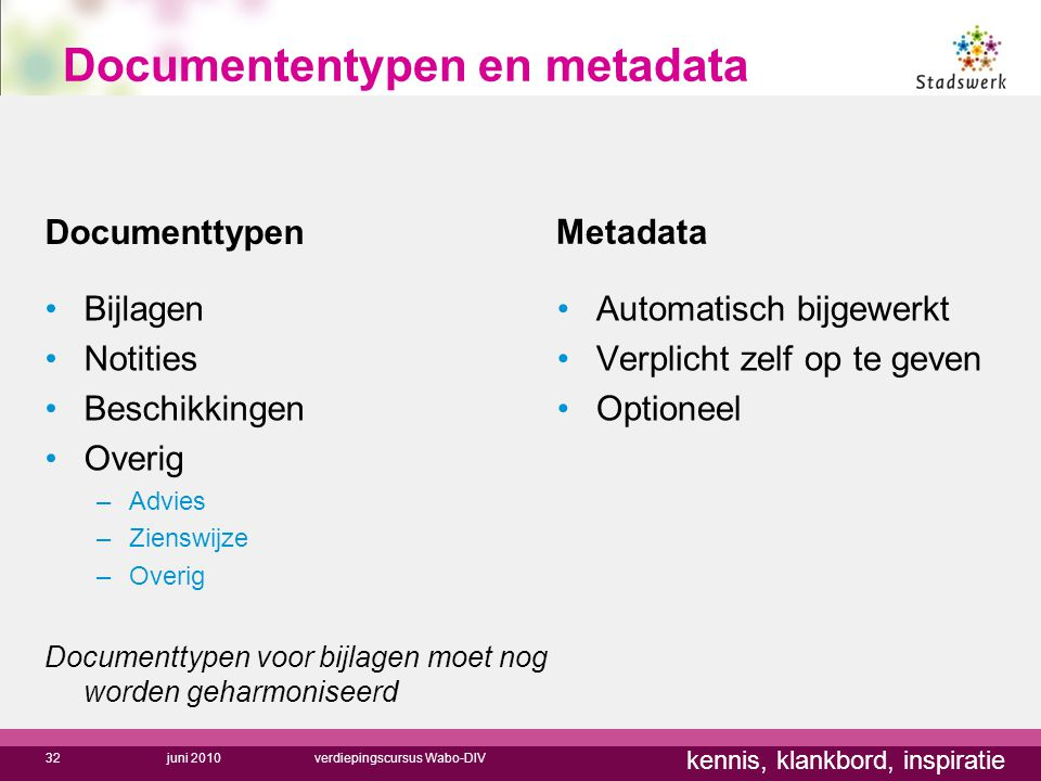 Documententypen en metadata