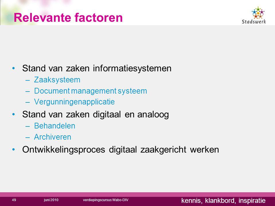 Relevante factoren Stand van zaken informatiesystemen