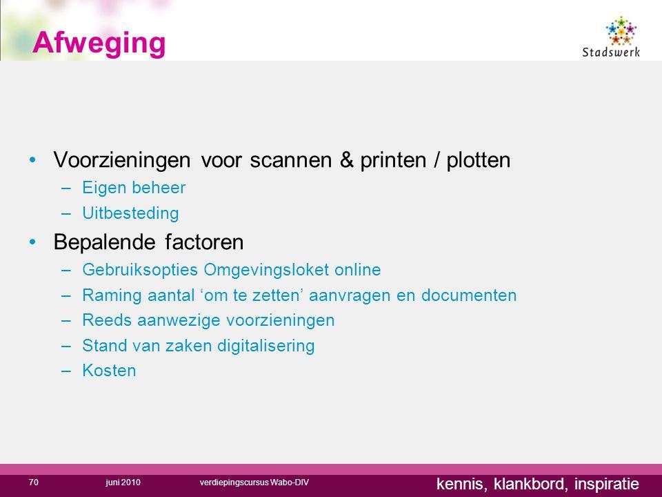 Afweging Voorzieningen voor scannen & printen / plotten