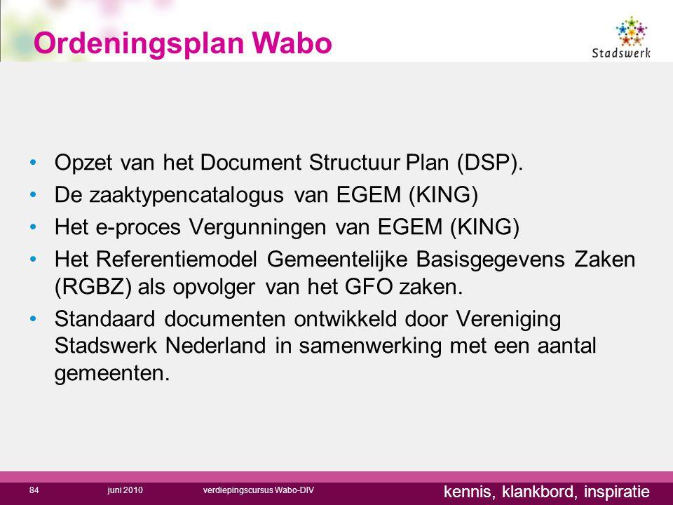 Ordeningsplan Wabo Opzet van het Document Structuur Plan (DSP).
