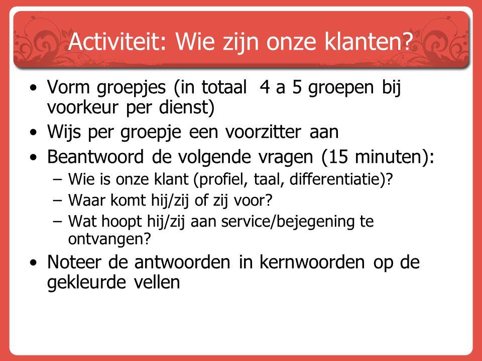 Activiteit: Wie zijn onze klanten
