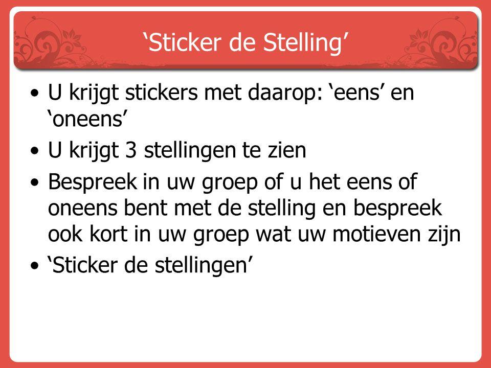 'Sticker de Stelling' U krijgt stickers met daarop: 'eens' en 'oneens'