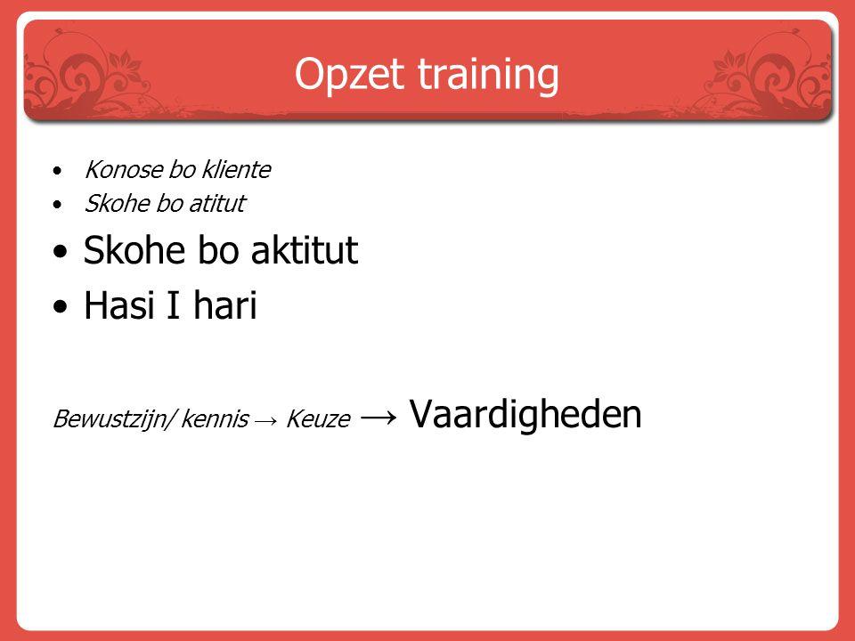 Opzet training Skohe bo aktitut Hasi I hari Konose bo kliente
