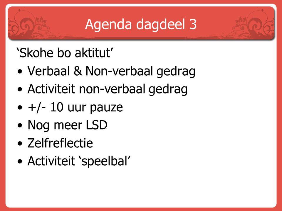 Agenda dagdeel 3 'Skohe bo aktitut' Verbaal & Non-verbaal gedrag