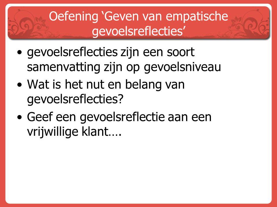 Oefening 'Geven van empatische gevoelsreflecties'