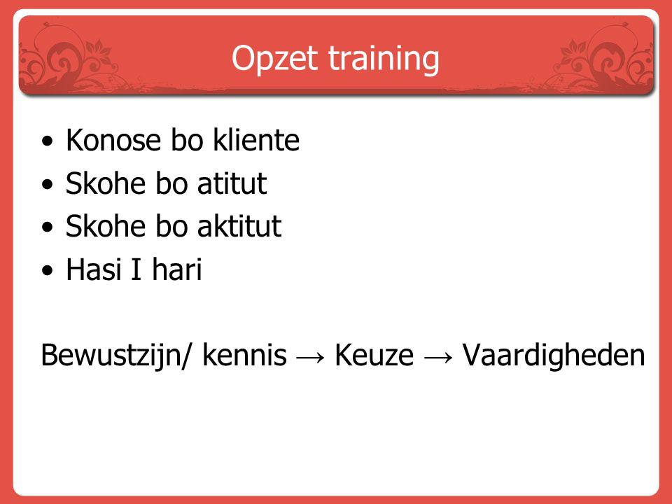 Opzet training Konose bo kliente Skohe bo atitut Skohe bo aktitut