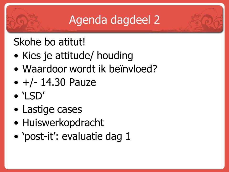 Agenda dagdeel 2 Skohe bo atitut! Kies je attitude/ houding