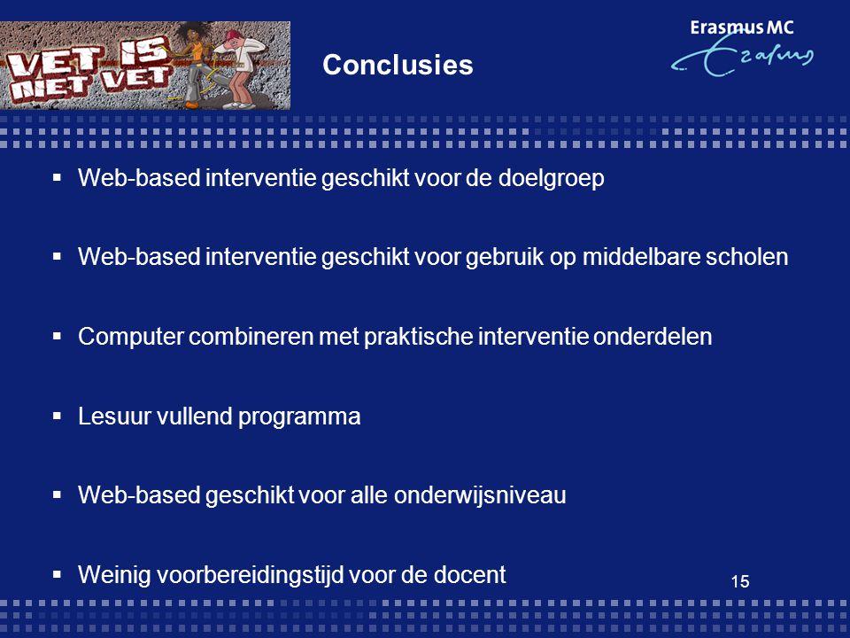 Conclusies Web-based interventie geschikt voor de doelgroep