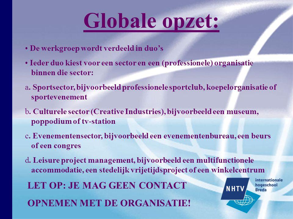 Globale opzet: LET OP: JE MAG GEEN CONTACT OPNEMEN MET DE ORGANISATIE!