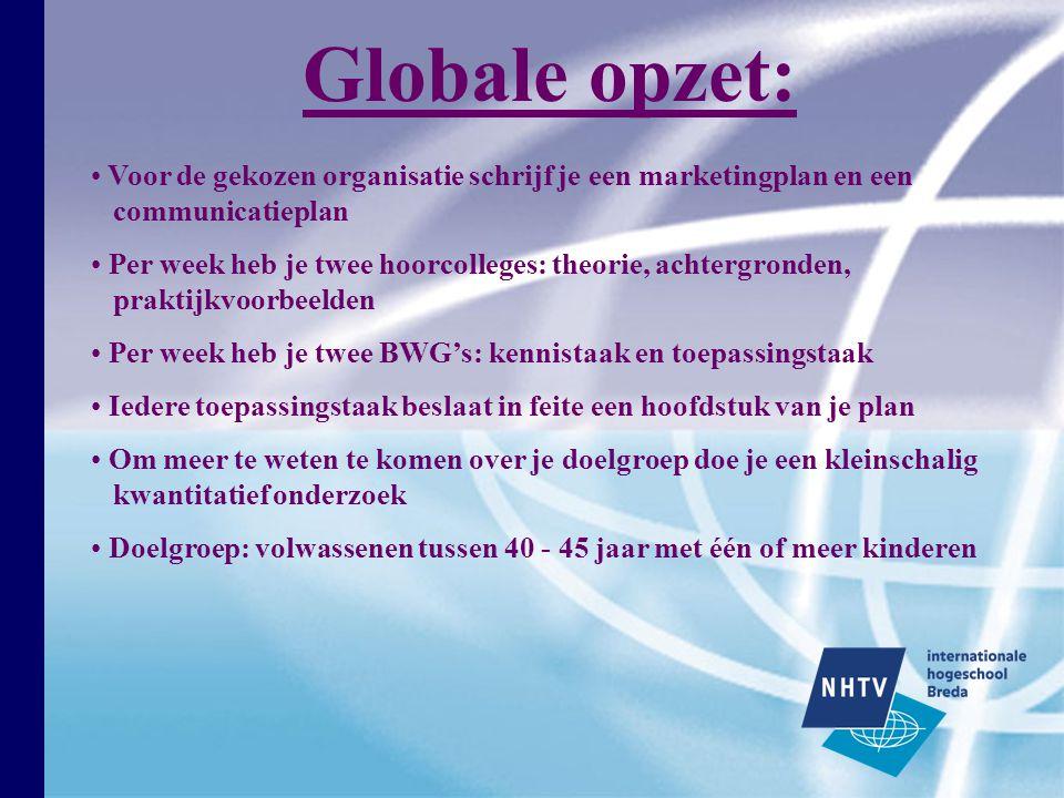 Globale opzet: Voor de gekozen organisatie schrijf je een marketingplan en een communicatieplan.