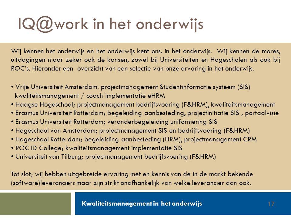 IQ@work in het onderwijs