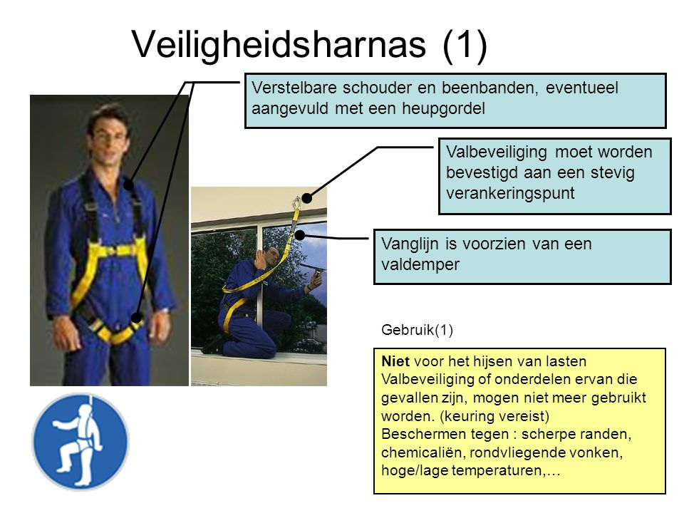 Veiligheidsharnas (1) Verstelbare schouder en beenbanden, eventueel aangevuld met een heupgordel.