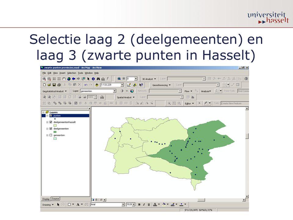 Selectie laag 2 (deelgemeenten) en laag 3 (zwarte punten in Hasselt)