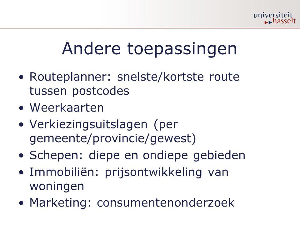 Andere toepassingen Routeplanner: snelste/kortste route tussen postcodes. Weerkaarten. Verkiezingsuitslagen (per gemeente/provincie/gewest)