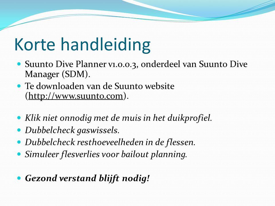 Korte handleiding Suunto Dive Planner v1.0.0.3, onderdeel van Suunto Dive Manager (SDM).