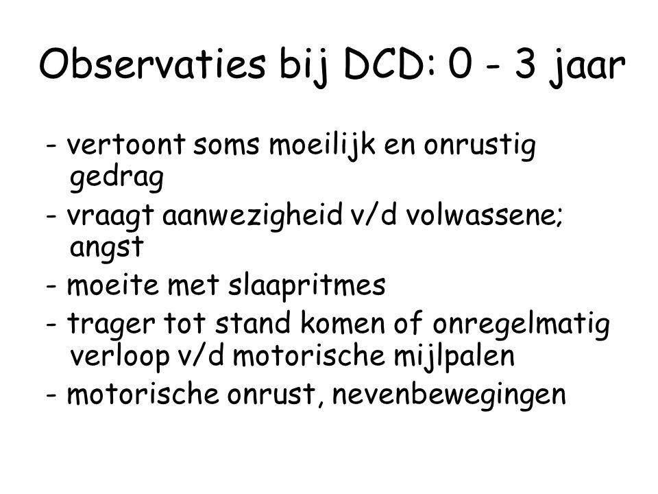 Observaties bij DCD: 0 - 3 jaar
