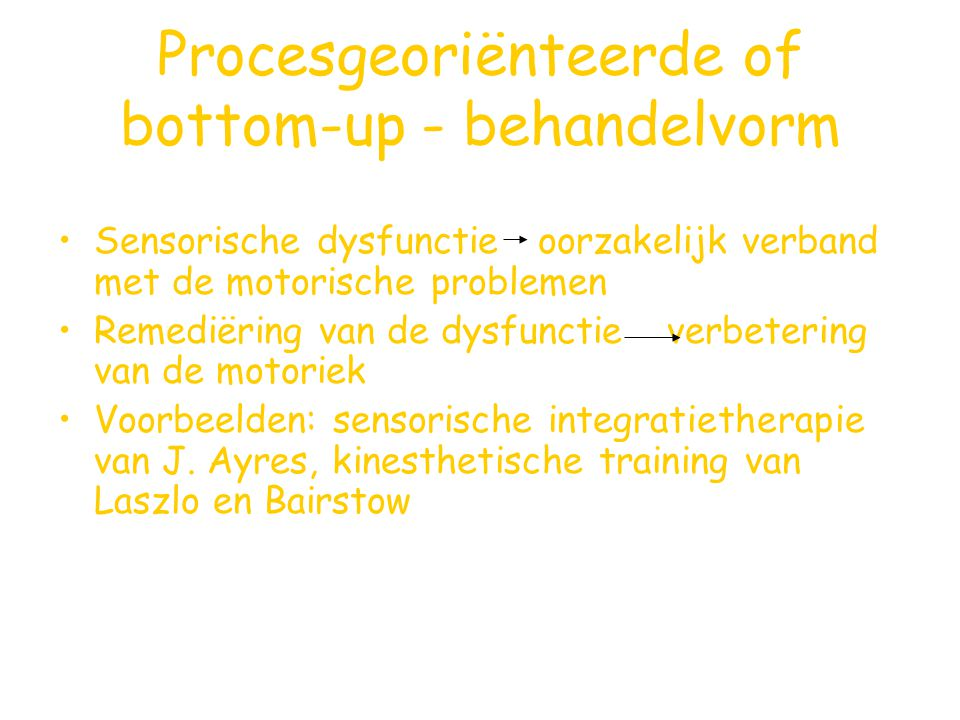 Procesgeoriënteerde of bottom-up - behandelvorm