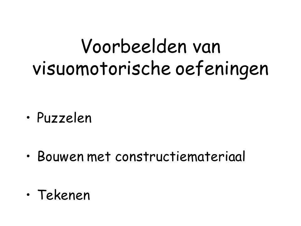 Voorbeelden van visuomotorische oefeningen