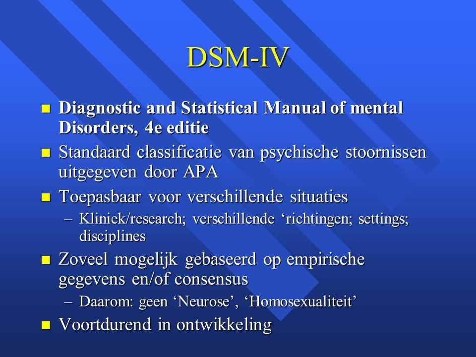 DSM-IV Diagnostic and Statistical Manual of mental Disorders, 4e editie. Standaard classificatie van psychische stoornissen uitgegeven door APA.