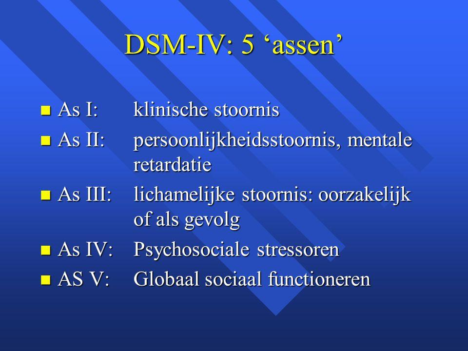 DSM-IV: 5 'assen' As I: klinische stoornis