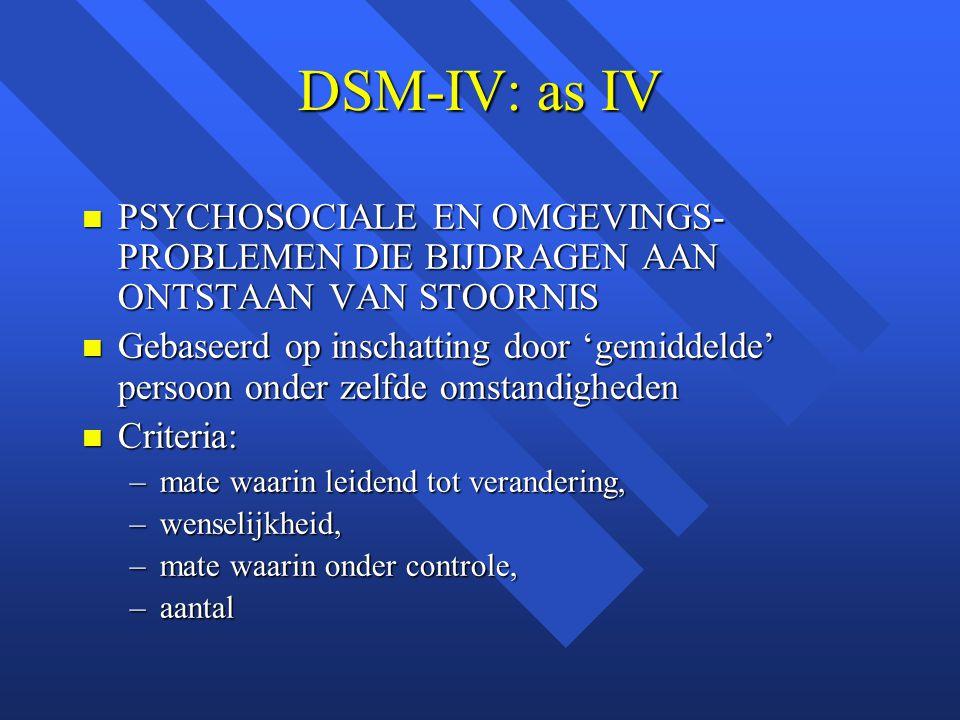 DSM-IV: as IV PSYCHOSOCIALE EN OMGEVINGS-PROBLEMEN DIE BIJDRAGEN AAN ONTSTAAN VAN STOORNIS.
