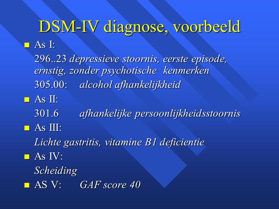 DSM-IV diagnose, voorbeeld