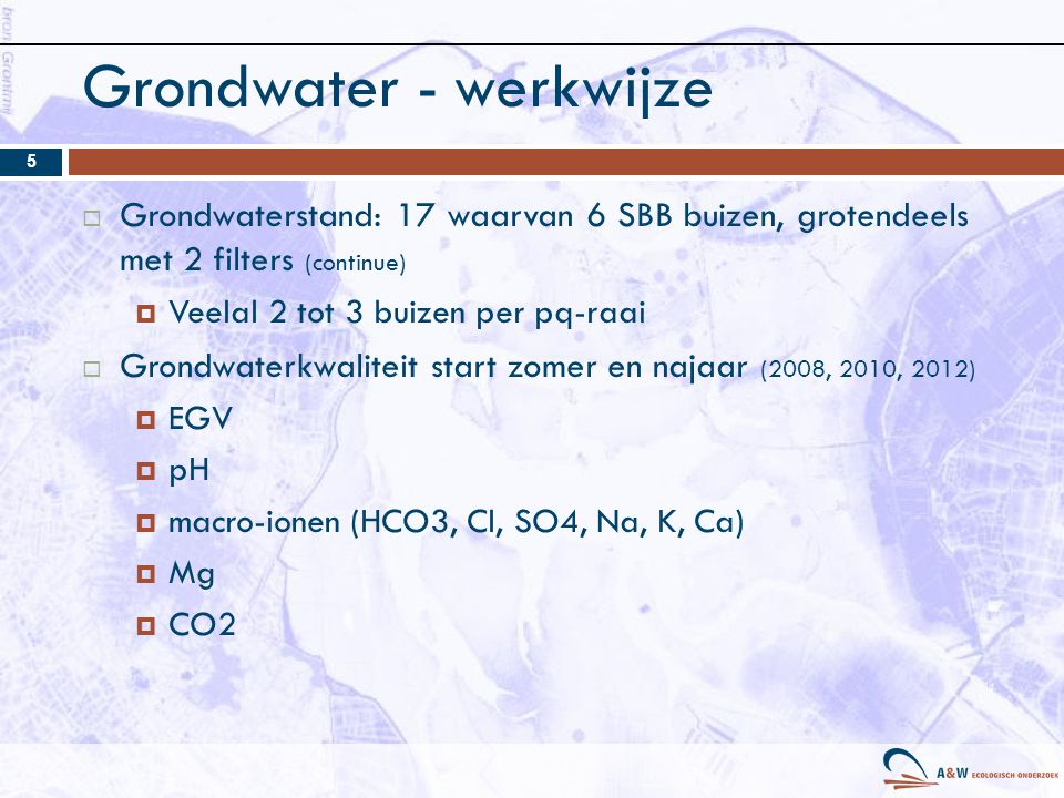 Grondwater - werkwijze