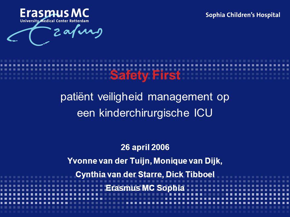 Safety First patiënt veiligheid management op een kinderchirurgische ICU. 26 april 2006. Yvonne van der Tuijn, Monique van Dijk,