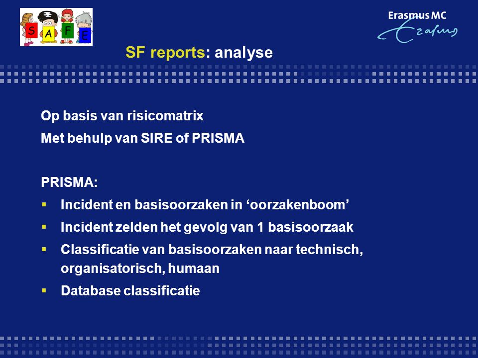 SF reports: analyse Op basis van risicomatrix